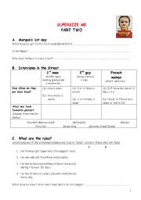Supersize Me Worksheet by Supersize Me Part Two Interviews And Throwing Up Incident