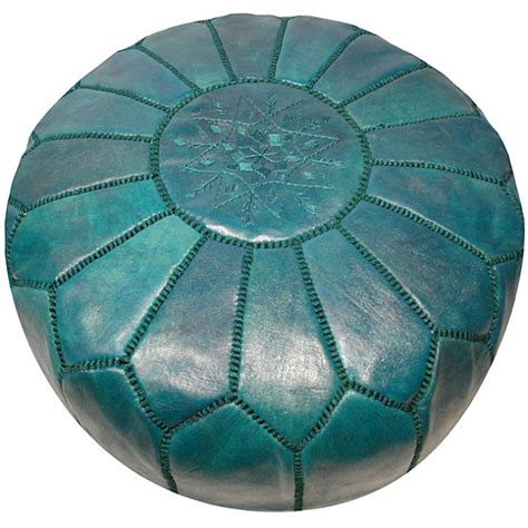 turquoise leather ottoman serena and lily turquoise moroccan leather pouf copycatchic