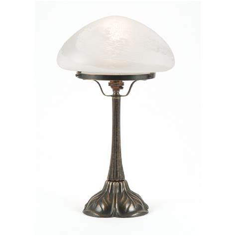 Period Lighting by Nouveau Table L In Aged Brass With Opal