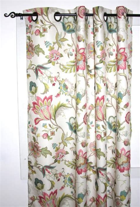 Jacobean Floral Curtains Brissac Jacobean Floral Print Lined Grommet Top Panel Window Curtain Window Toppers