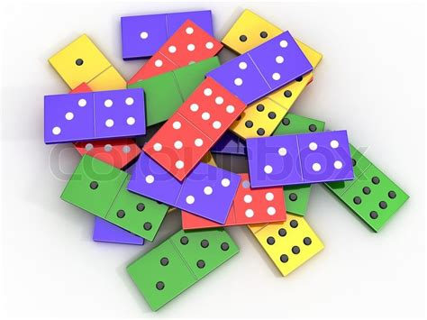 colored dominoes scattered colored shiny bones dominoes on light background