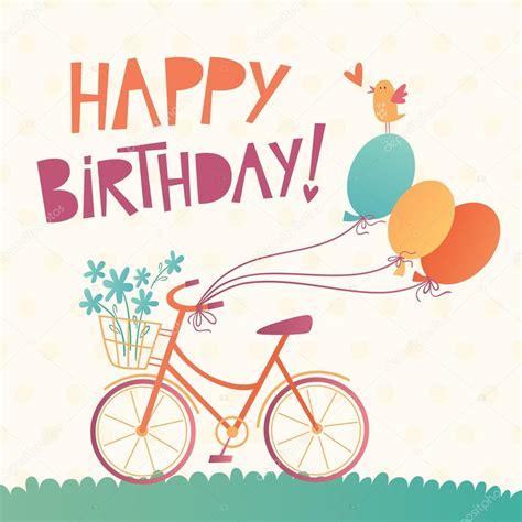 imagenes vintage happy birthday happy birthday vector card with a bicycle stock vector