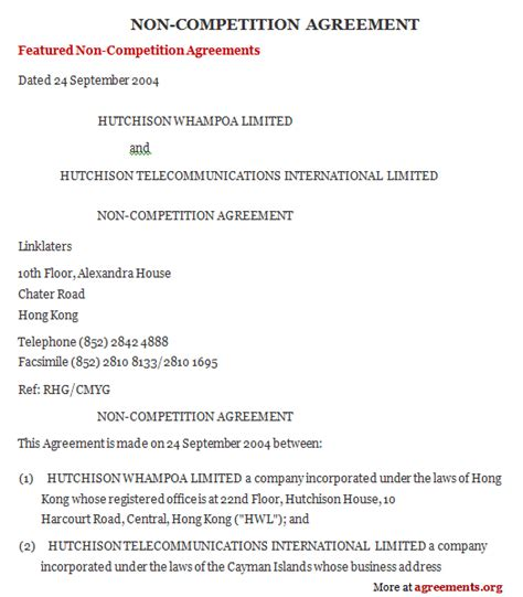 non compete agreement sle non compete agreement