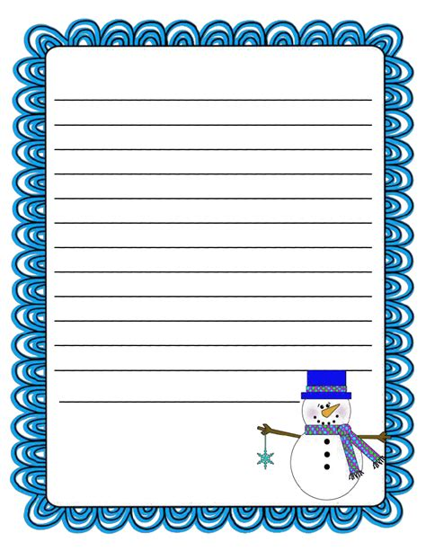 winter writing paper literacy minute snowman writing paper freebie