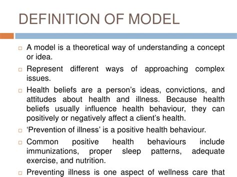 Model Definition health prevention model