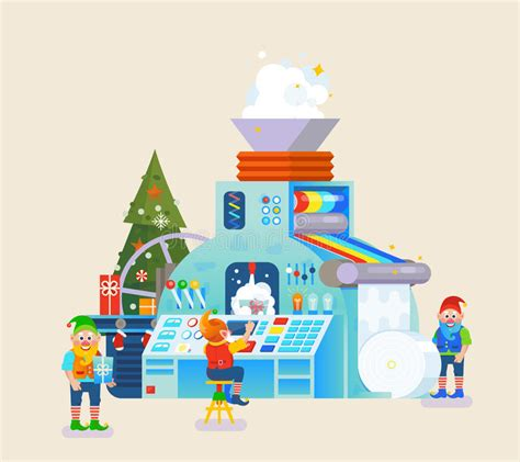 theme education a la santé christmas elves factory with gift on conveyor elf concept