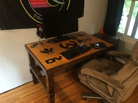 diy gaming desk diy overwatch themed desk and gaming rig dave eddy