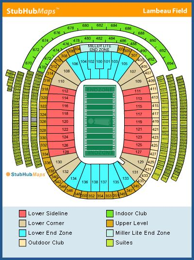 seating chart lambeau lambeau field seating chart pictures directions and