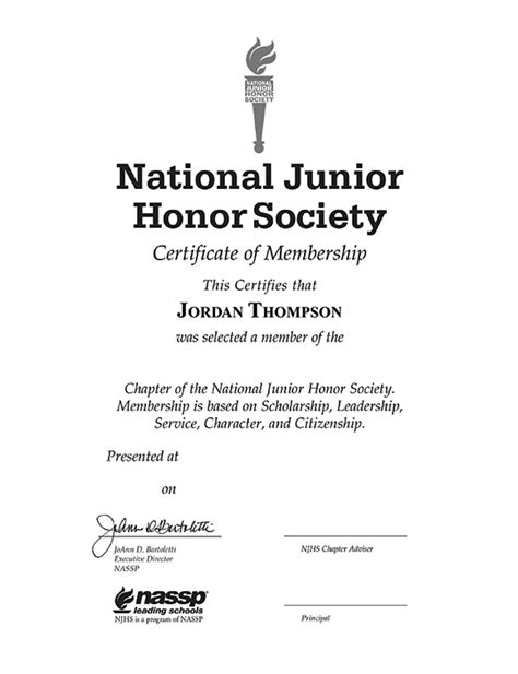 national junior honor society gold embossed certificate