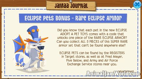rare eclipse armor  animal jam    codes