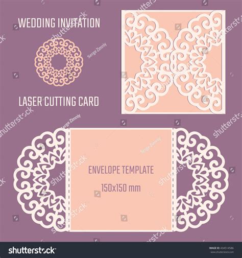 Diy Laser Cutting Vector Envelope Wedding Stock Vector 434514586 Shutterstock Laser Cut Templates