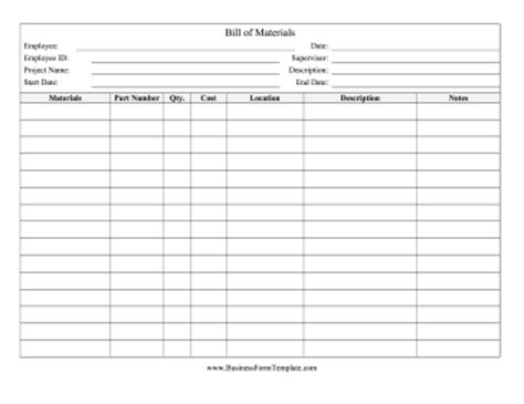 bill of materials template free bill of materials template