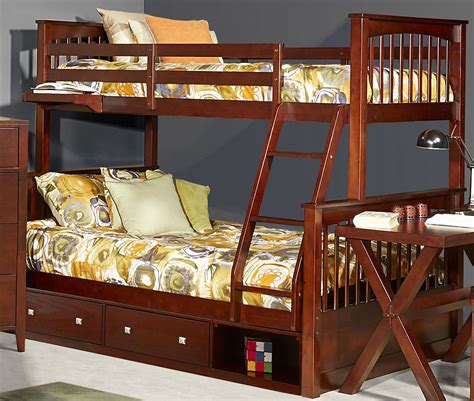 twin over full bunk bed with storage pulse cherry twin over full bunk bed with storage 31050ns