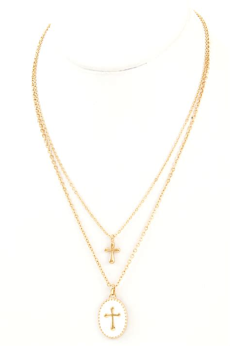 Cross Pendant Layered Necklace cross pendant layer cross necklace necklaces