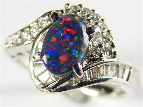 1 Kodi Platinum Sm Pt900 black opal ring platinum ring 16 diamonds sco 1236