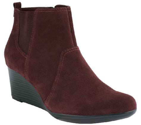 clarks suede or leather wedge boots quartz qvc
