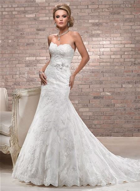 Brautkleider Fit And Flare by Fit And Flare Sweetheart Neckline Scalloped Lace Wedding