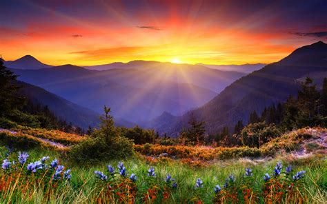mountains sunset sun landscape panorama wallpaper