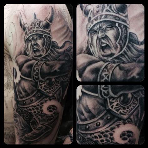 viking sleeve tattoos viking sleeve in progress by chad miskimon tattoonow