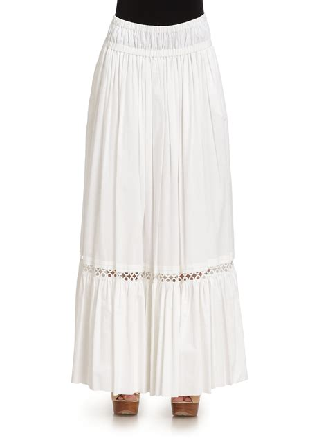 roberto cavalli cotton eyelet maxi skirt in white lyst