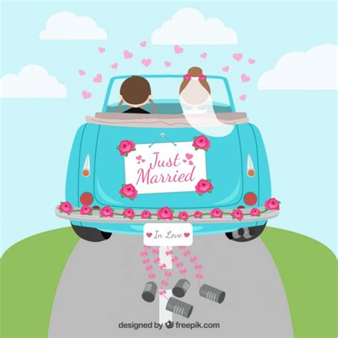 Just Married Auto by Just Married Car Vector Free