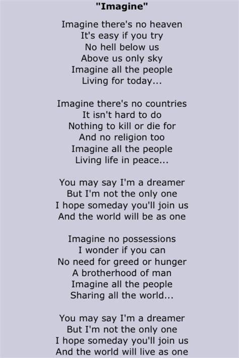 imagine testo inglese lennon song lyrics two in 2019 lyrics