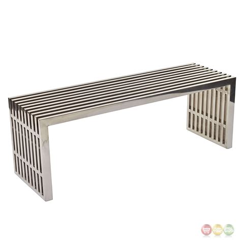 modern metal bench gridiron contemporary medium stainless steel slatted bench
