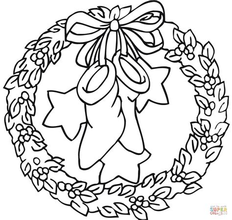 wreath bow coloring page wreath with bow holding stockings and stars coloring page