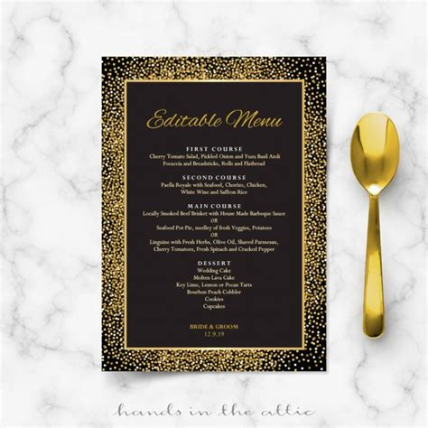 Printable Stationery Weddings Parties Celebrations Hands In The Attic Black Menu Template