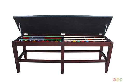 table with storage bench leatherette mahogony pool table storage bench