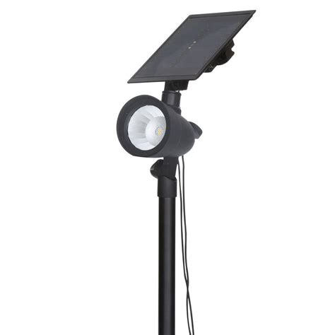 hton bay black solar outdoor led 70 lumen spotlight