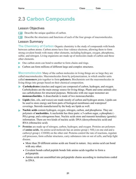 Section 2 3 Carbon Compounds Pages 44 48 by Carbon Compounds Worksheet Mmosguides