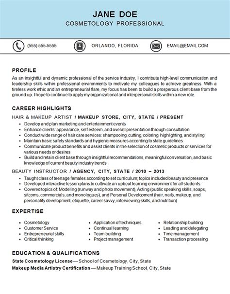 lesson plan template hairdressing cosmetology resume exle resume exles and cosmetology