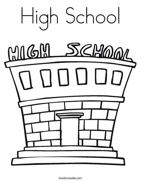 High School Coloring Page Twisty Noodle School Coloring Page