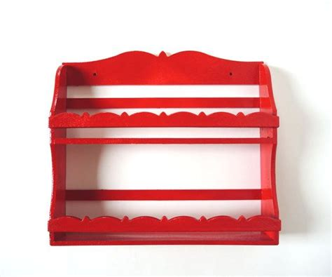 Red Spice Rack Spice Rack Wall Shelf Kitchen Craft Room Storage Knick