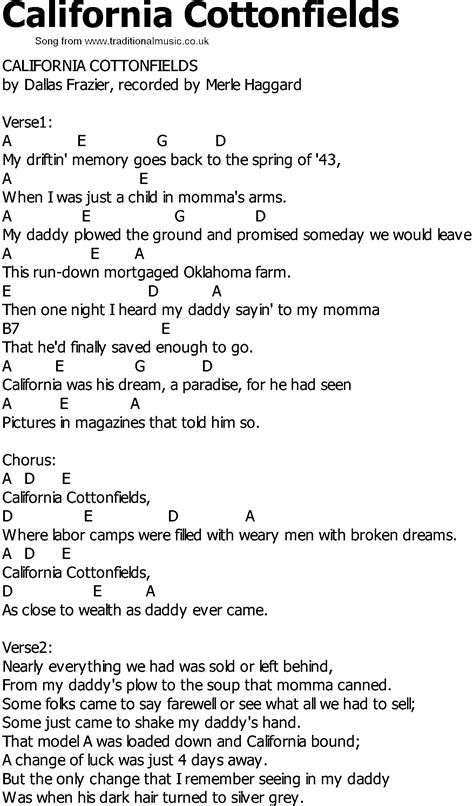 old country song lyrics with chords california cottonfields