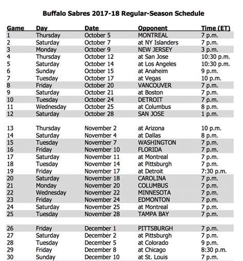 sabres release 2017 18 schedule espn rochester 95 7 fm