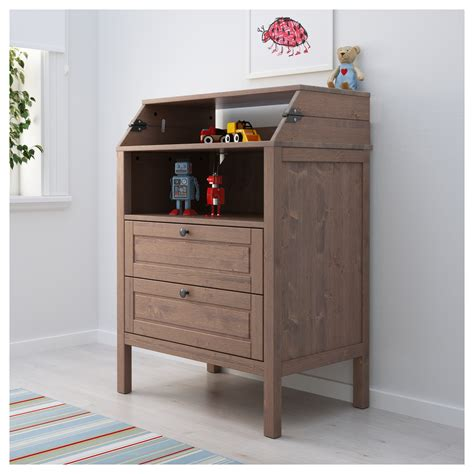 brown changing table sundvik changing table chest of drawers grey brown ikea