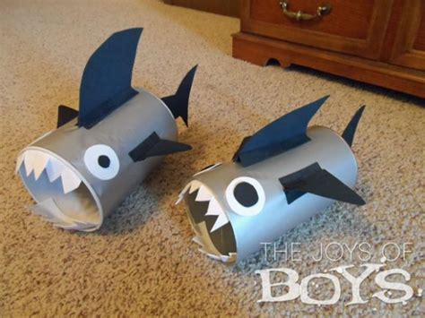 shark craft projects make recycled canister sharks 187 dollar store crafts