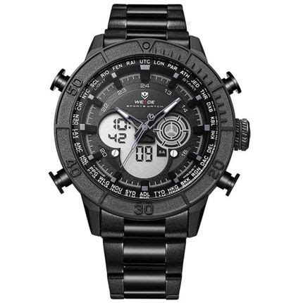Jam Tangan Analog Digital Led Stainless Steel Date Day weide jam tangan digital analog stainless steel wh6308 black black jakartanotebook