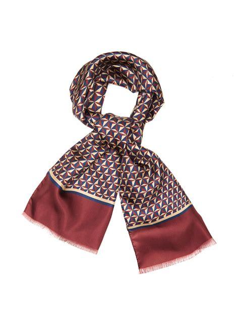 Ck Bandana 1403007 Motif Purple fa 231 onnable geometric print silk scarf in purple for lyst