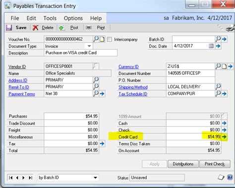 Credit Card Date Format Gp Posting Invoices To A Credit Card Vendor Isolutions Partners