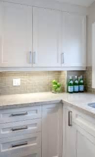 white shaker cabinets smoke gray glass subway tile