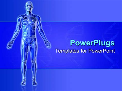 Powerpoint Template Blue Skeleton With Arms Outstretched Blue Background 19974 Bone Powerpoint Template