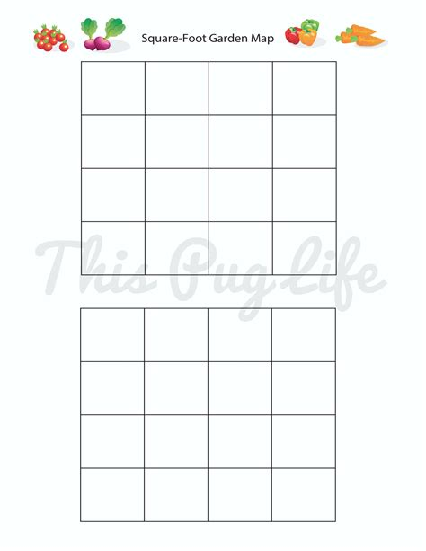 printable square foot garden planner garden journal printables updated this pug life