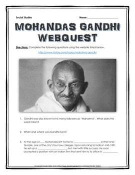 gandhi biography for middle school gandhi webquest with key teaching history history