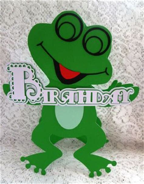 frog birthday card template svg file template scalloped layered frog birthday