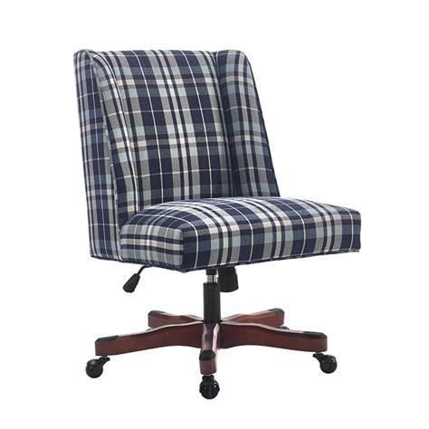 blue upholstered desk chair linon draper swivel plaid fabric upholstered office chair