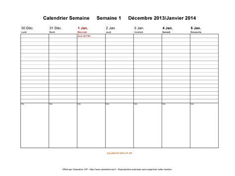 Calendrier 1 Semaine Calendrier Semaine 2014