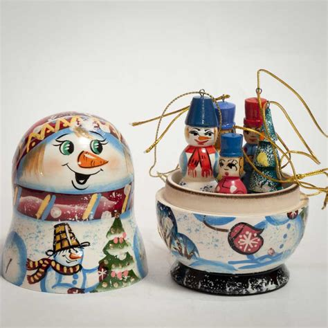snowman ornaments set nesting doll christmas tree